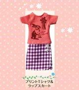 [ガーリースタイル] 2.プリントTシャツ&ラップスカート